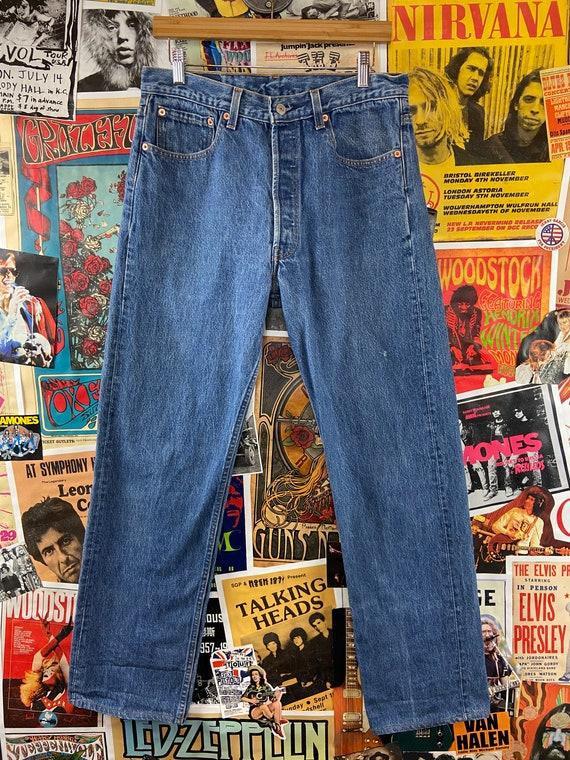 Vintage 1990s Medium Wash USA Levis 501s 32/33W B… - image 10