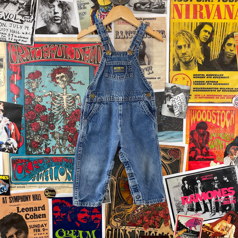 Vintage Overalls & Jumpsuits Vintage Kids 24Mo 1980S-90S Oshkosh Bgosh Vestbak Medium Wash Cotton Denim Overalls Dungarees $0.00 AT vintagedancer.com