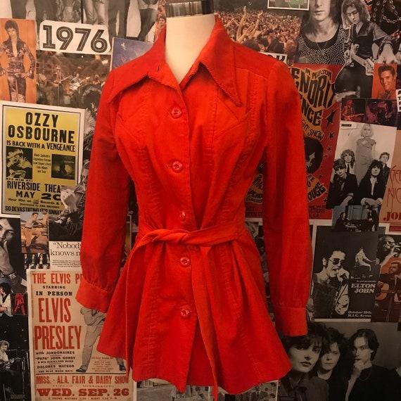 Vintage Women's 1970s Red Corduroy Belted Jacket