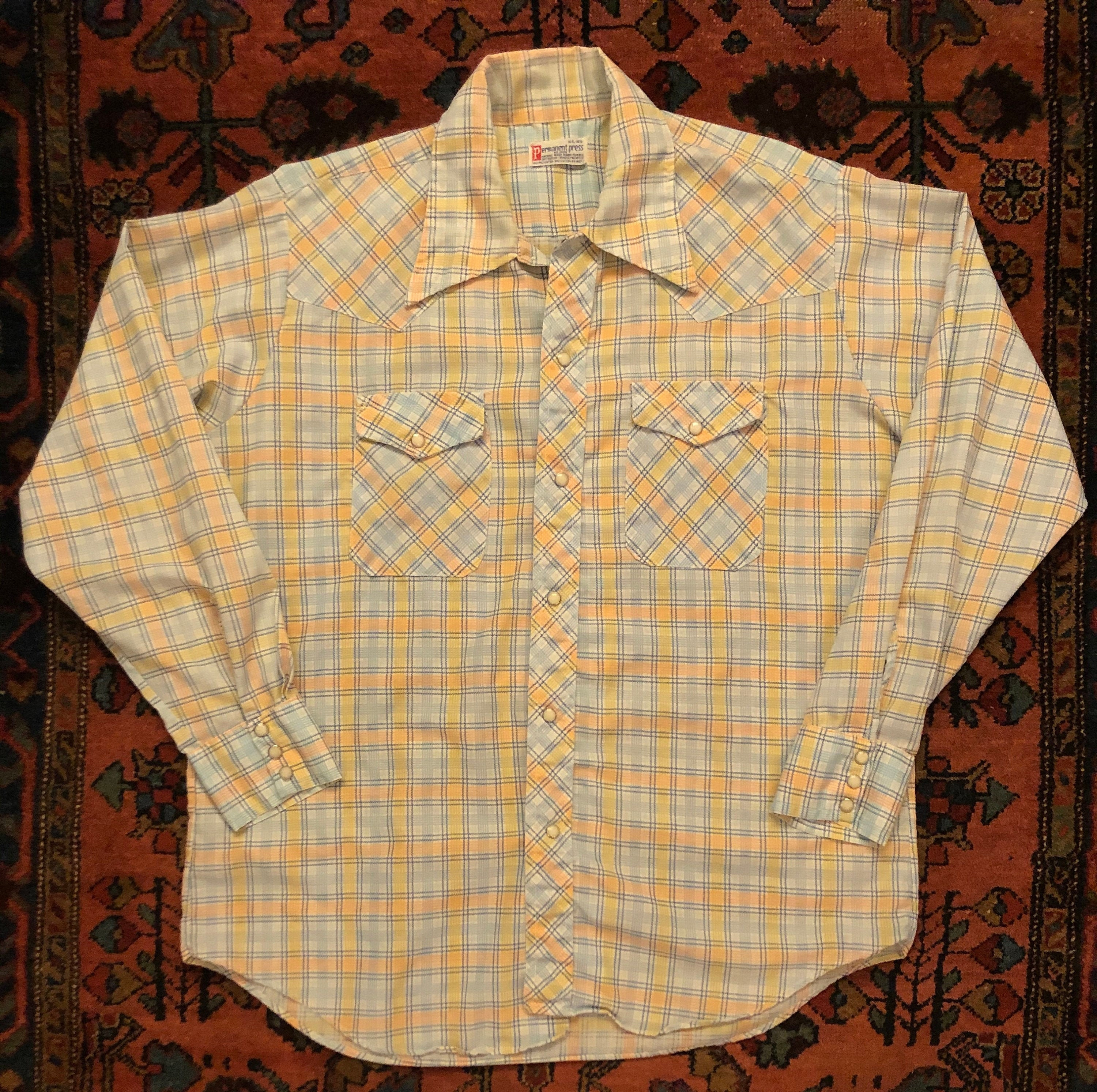 1970s Mens Shirt Styles – Vintage 70s Shirts for Guys Vintage Mens 1970S Yellow  Blue Pearl Snap Western Cowboy Plaid Button Down Shirt $0.00 AT vintagedancer.com
