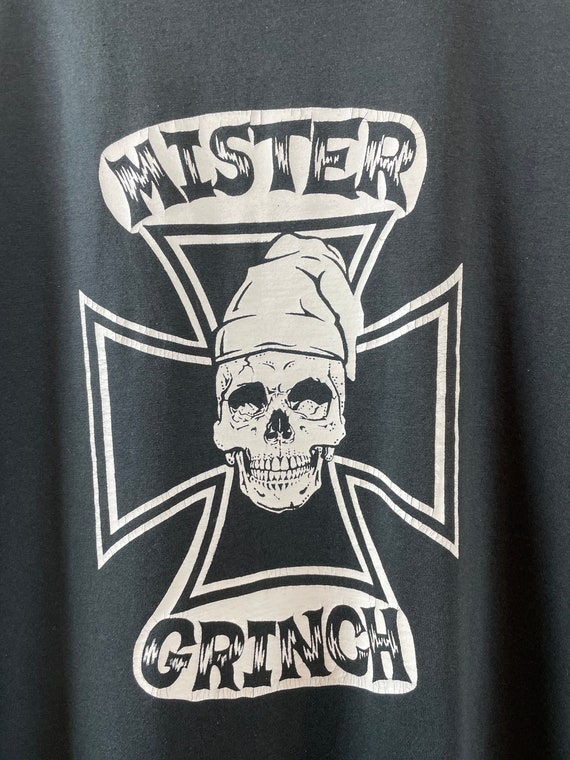 Vintage 1990s Mister Grinch /'You/'re the Best/' Iron Cross Skull Chopper Custom Novelty Graphic T-Shirt