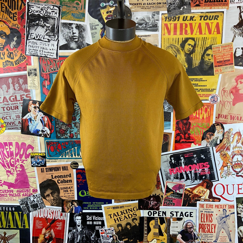 1960s – 70s Men's Ties | Skinny Ties, Slim Ties Vintage Mens 1960S-70S Mod Mustard Yellow Pebble Beach Short Sleeve Polyester Mock Neck Shirt $54.00 AT vintagedancer.com