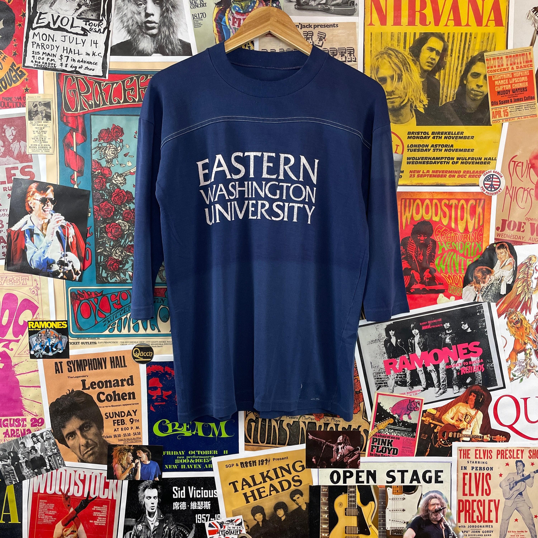 1970s Mens Shirt Styles – Vintage 70s Shirts for Guys Vintage 1970S-80S Eastern Washington University Ewu Raglan Jersey Graphic T-Shirt $0.00 AT vintagedancer.com