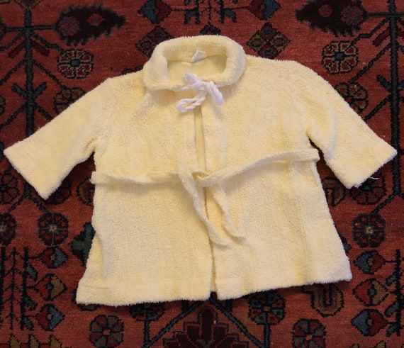 "Vintage 1950s Baby ""Turknit"" Yellow Belted Terry C"
