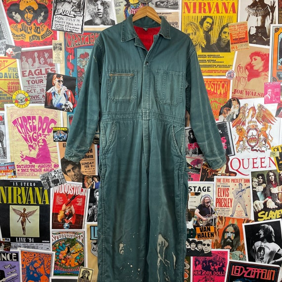 Vintage 1940s-50s Powr House Green Lined Zip Up W… - image 1