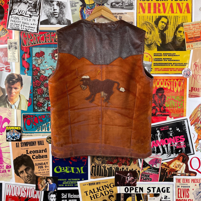1960s – 70s Men's Ties | Skinny Ties, Slim Ties Vintage Mens 1960S-1970S Funny Bull Udder - L.c. Folk Art Leather Western Vest $0.00 AT vintagedancer.com