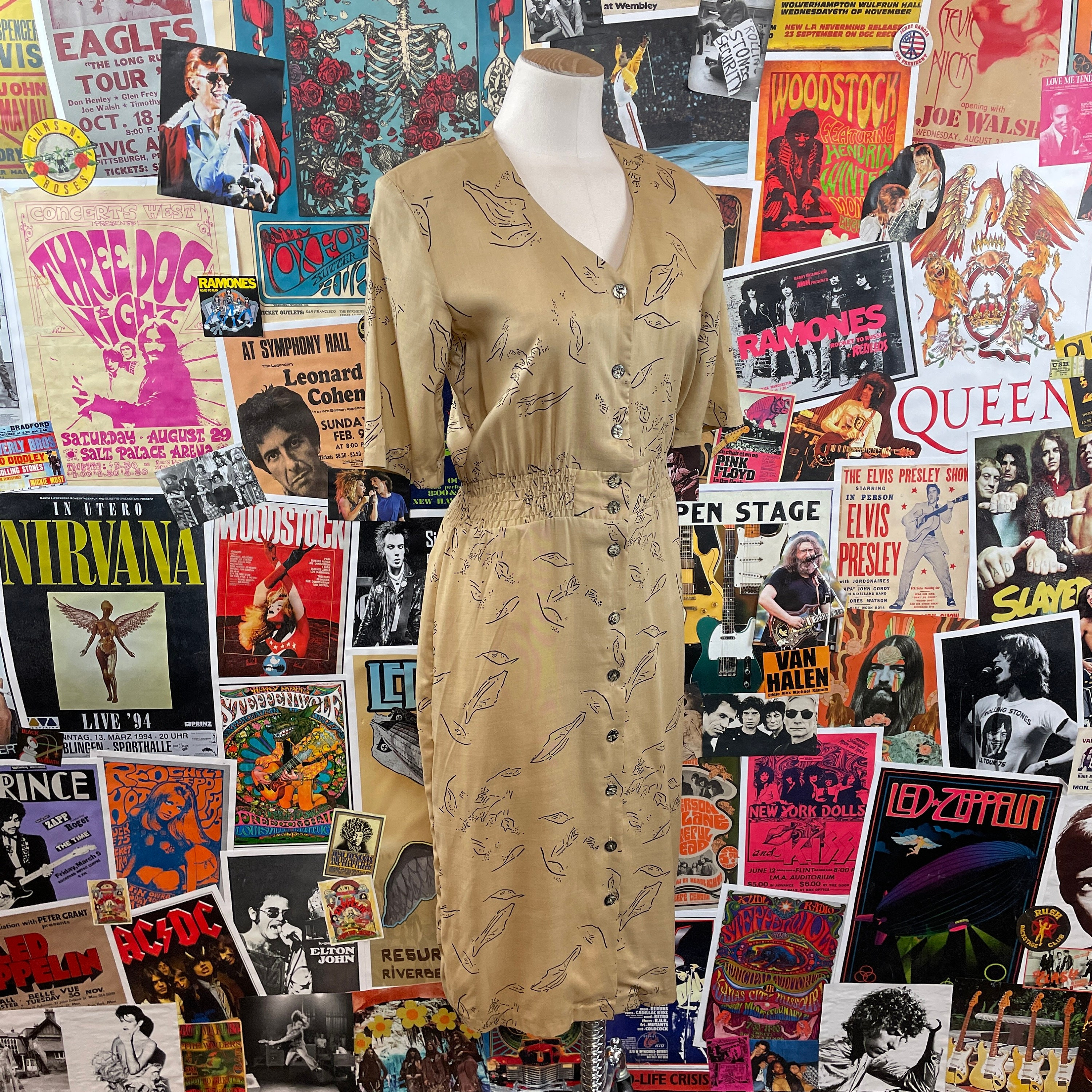 80s Dresses   Casual to Party Dresses Vintage Womens 1980S Tan  Black Abstract Print Laine Short Sleeve Fitted Rayon Midi Dress $0.00 AT vintagedancer.com