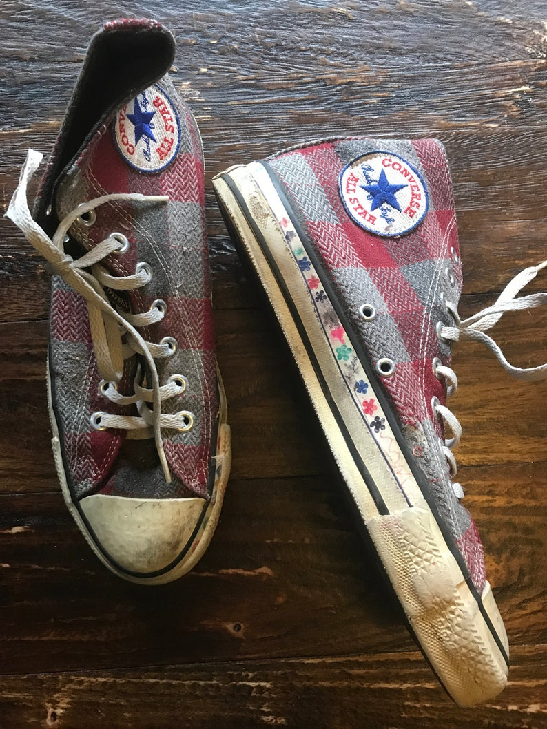 Vintage 1980s Plaid Converse Chuck Taylor Hi Top Sneakers