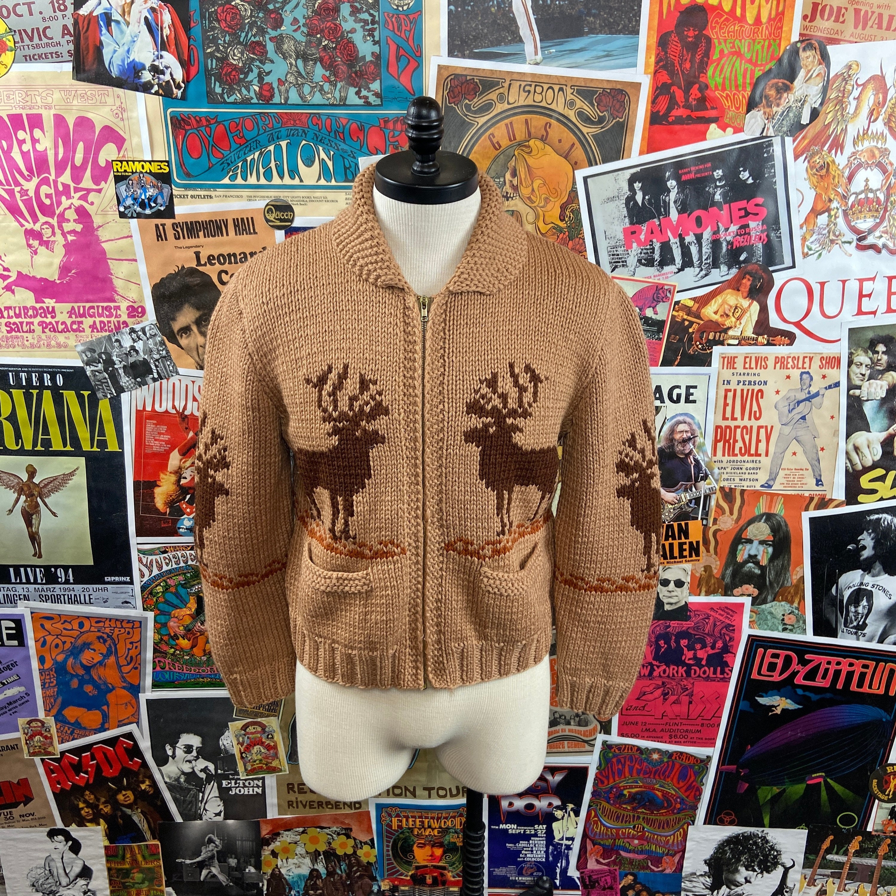 1950s Mens Hats | 50s Vintage Men's Hats Vintage Mens Unisex 1950S-60S Tan Cowichan Caribou Print Knit Wool Two Pocket Zip Up Cardigan Sweater - As Is See Images $100.00 AT vintagedancer.com