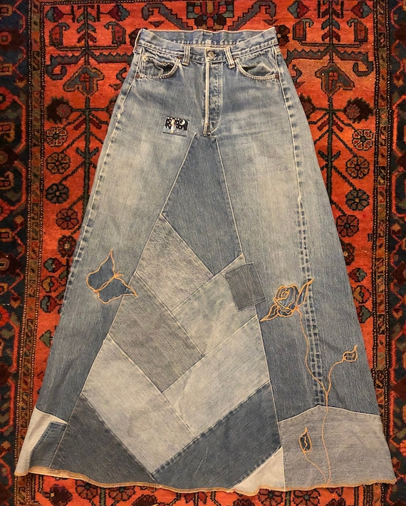 Vintage 1970s Levi 501 Selvedge Denim Patchwork Em