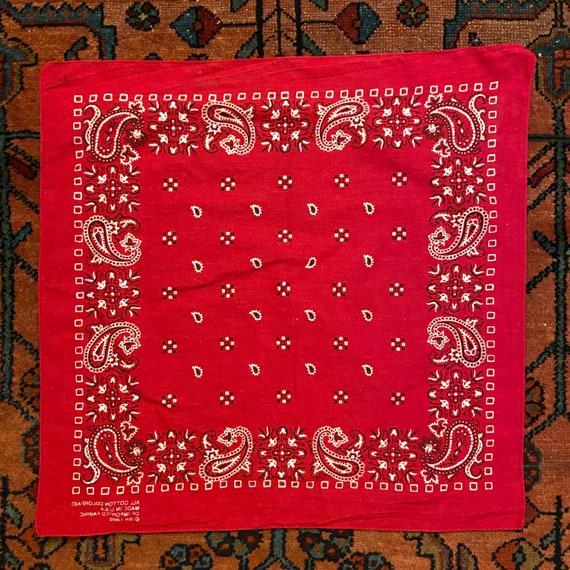 Vintage 197080s Red Paisley Colorfast All Cotton Square Bandana Handkerchief