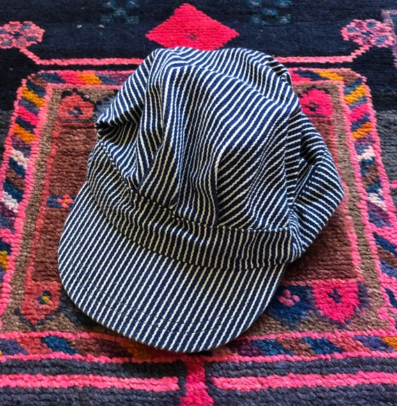 FREE SHIPPING Kid/'s Youth Size Hickory Stripe Railroad Train Engineer Cap