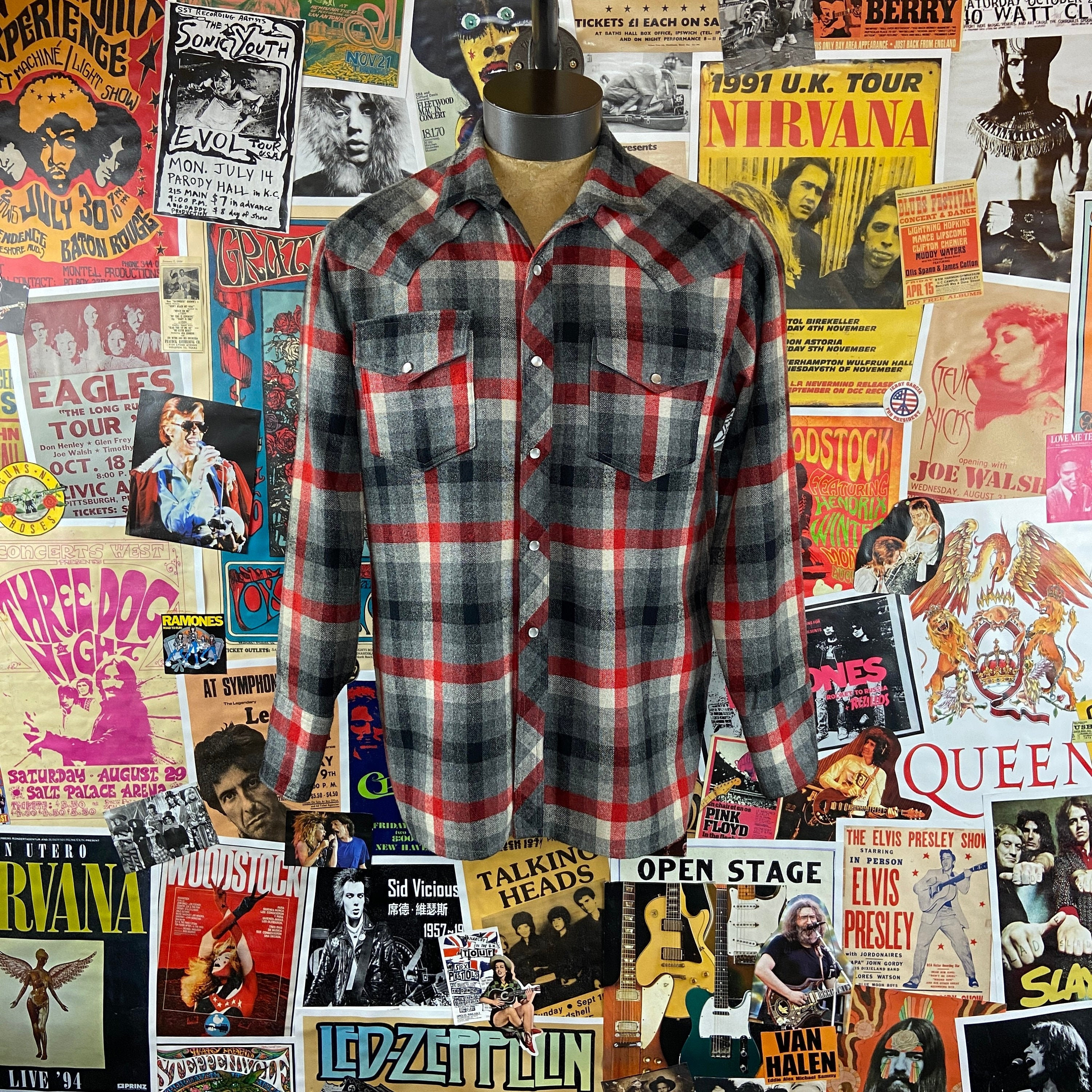 1950s Mens Hats | 50s Vintage Men's Hats Vintage Mens 1950S-60S Grey  Red Plaid Wool Long Sleeve Pearl Snap Western 46 Chest Two Pocket Button Up Flannel Shirt $54.00 AT vintagedancer.com