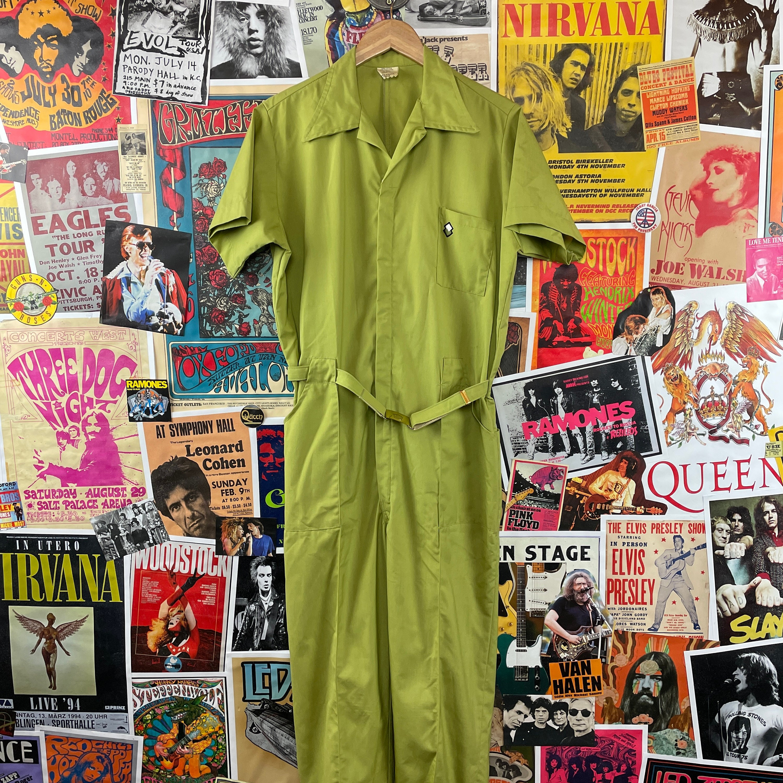 1960s – 70s Men's Ties | Skinny Ties, Slim Ties Vintage Mens 1960S-1970S Green Short Sleeve Belted Leisure Zip Up Coveralls Jumpsuits $0.00 AT vintagedancer.com