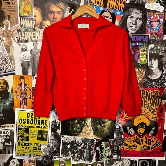 Vintage Women's 1950s Red Lofties Knit Cardigan Sw