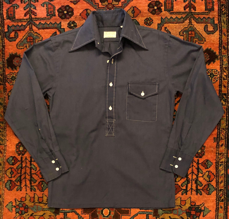 1940s Men's Shirts, Sweaters, Vests Vintage Mens 1940S Holbrook Rayon Rockabilly Button Down Pullover Pocket Shirt $0.00 AT vintagedancer.com