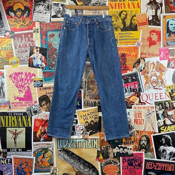 Vintage 1990s Medium Wash USA Levis 501s 32/33W B… - image 1