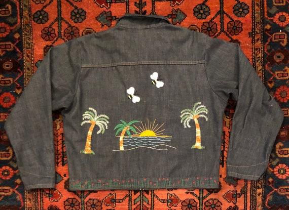 """Vintage 70s Men's """"Tropical"""" Embroidered Denim Jac"""