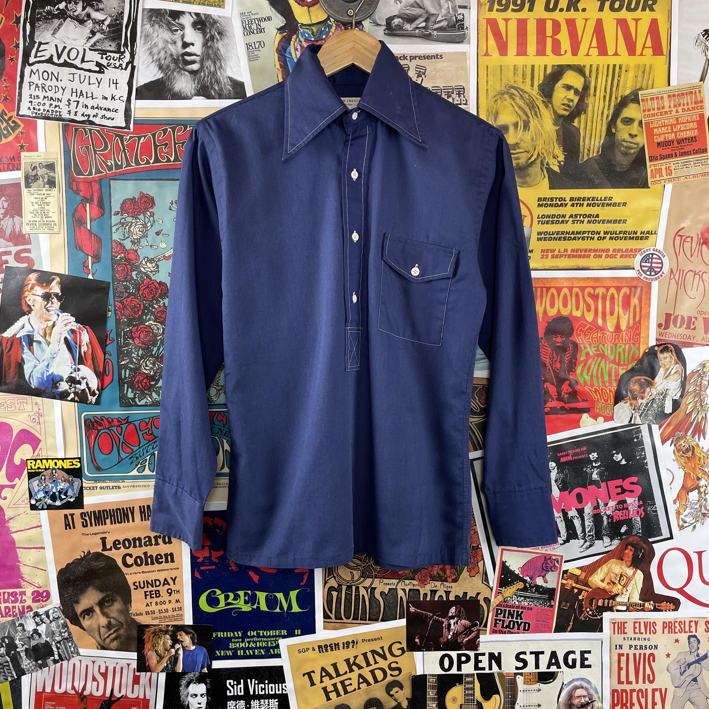 1940s Men's Shirts, Sweaters, Vests Vintage Mens 1940S Blue Holbrook Gabardine Rockabilly Half Button Pullover Long Sleeve Pocket Shirt $0.00 AT vintagedancer.com