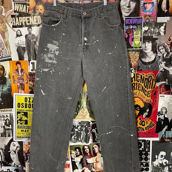 Vintage 1990s Grey Paint Splattered Levi 501s 32W
