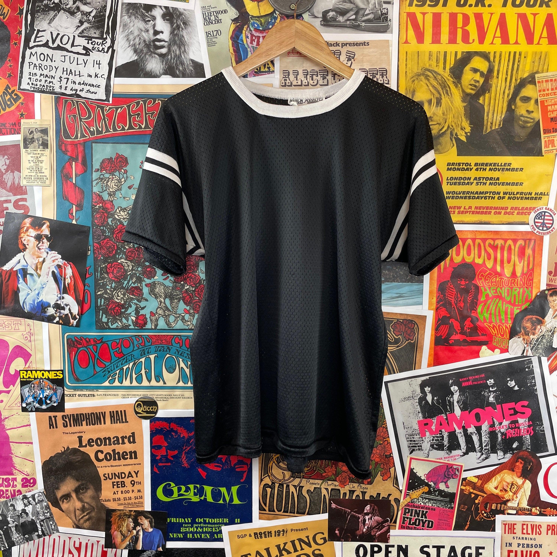 80s Tops, Shirts, T-shirts, Blouse   90s T-shirts Vintage 1980S Black  White 13 Short Sleeve Nylon Mesh Jersey Shirt $36.00 AT vintagedancer.com