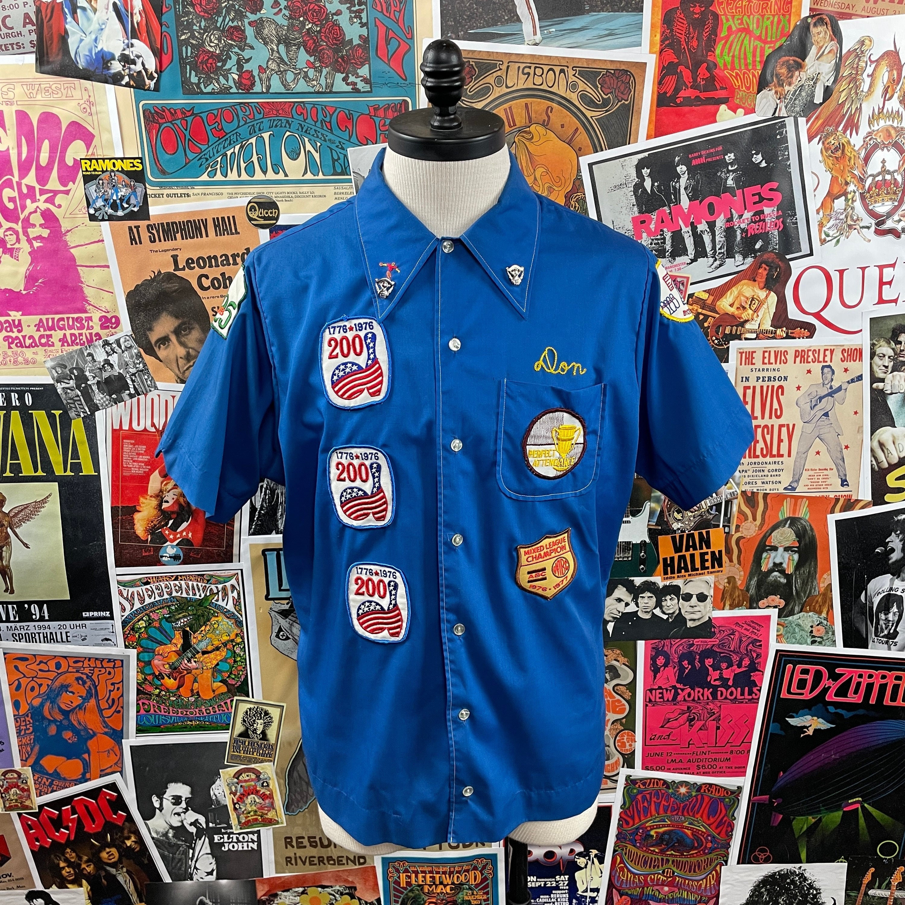 1970s Mens Shirt Styles – Vintage 70s Shirts for Guys Vintage Mens 1970S Chain Stitched Mutual  United Omaha Chief Head Don Patched King Louie Short Sleeve Bowling Shirt $0.00 AT vintagedancer.com