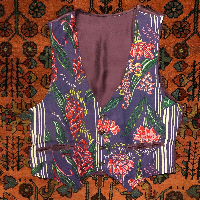 1940s Mens Ties | Wide Ties & Painted Ties Vintage Mens 197080S Rayon 40S Hawaiian-Inspired Print Custom Vest $0.00 AT vintagedancer.com