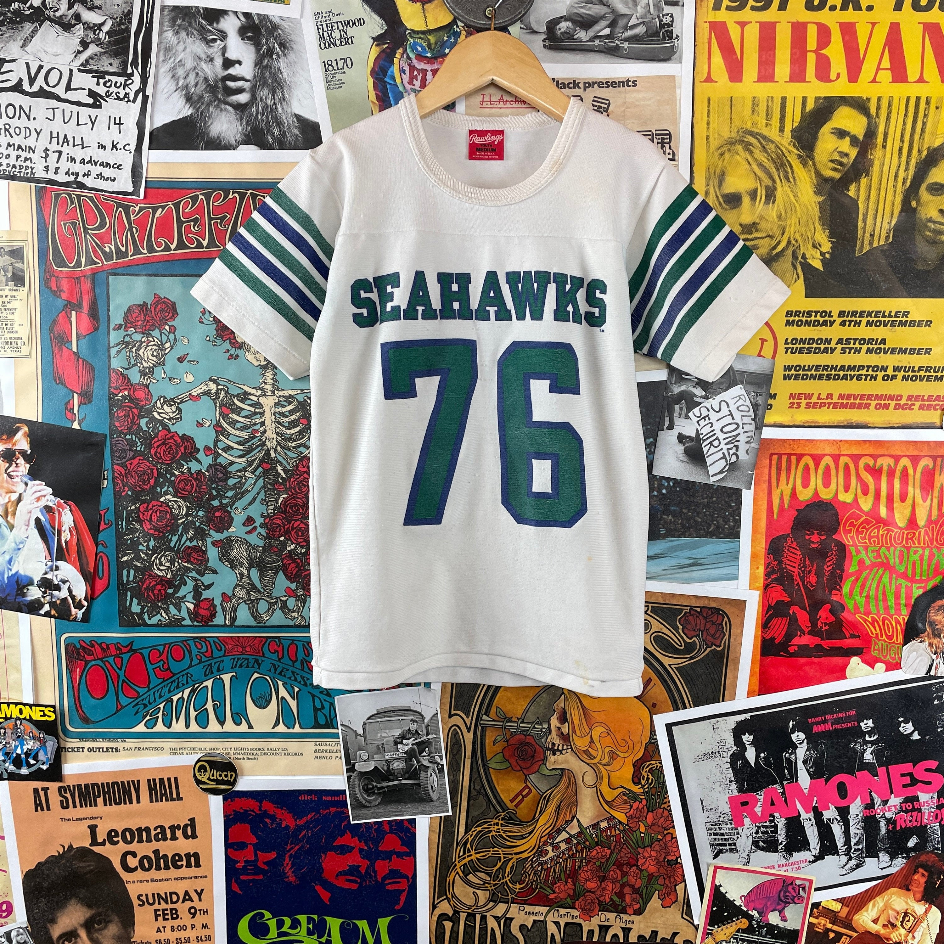 80s Tops, Shirts, T-shirts, Blouse   90s T-shirts Vintage Kids 1980S Nfl Seattle Seahawks 76 Rawlings Sportswear Jersey Shirt $25.00 AT vintagedancer.com