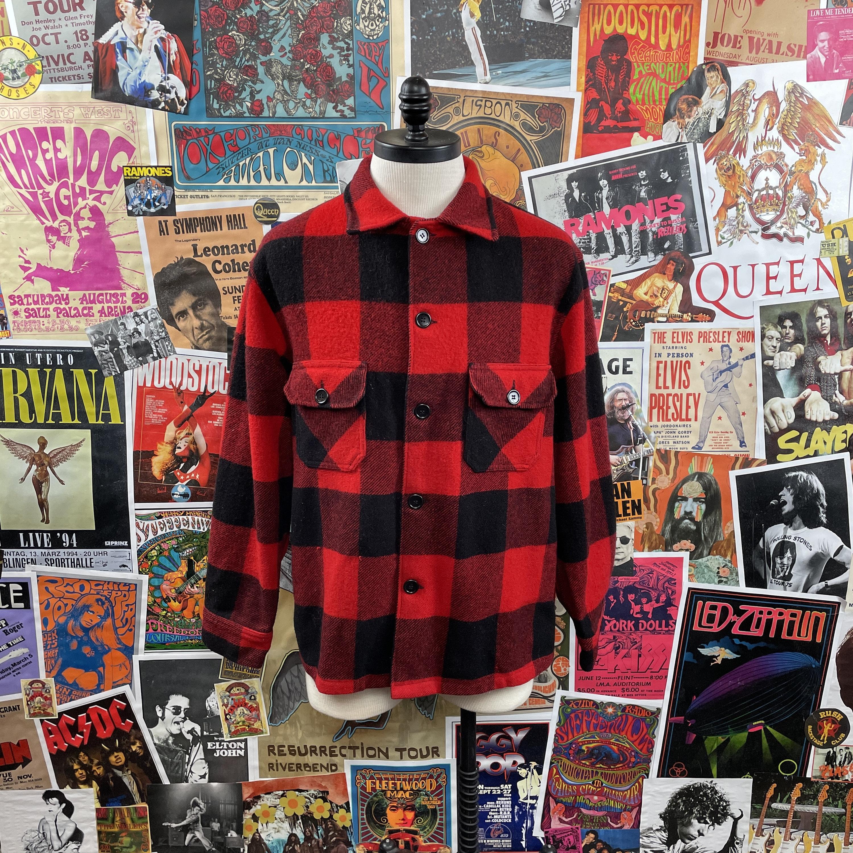 1950s Mens Hats | 50s Vintage Men's Hats Vintage Mens 1950S-60S Red  Black Buffalo Plaid Button Up Two Pocket 48 Chest Wool Flannel Shirt Jacket $86.00 AT vintagedancer.com