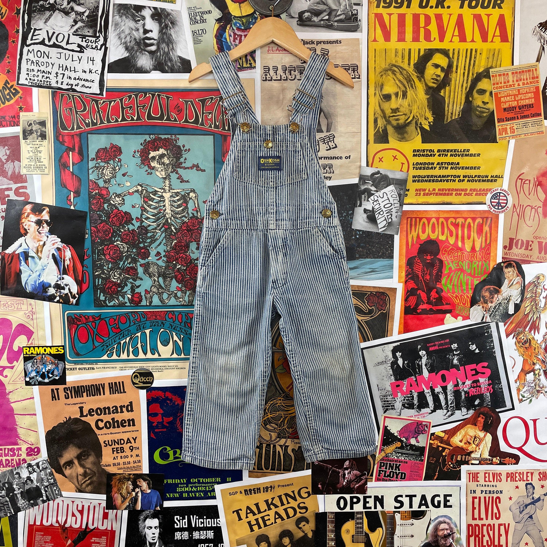 Vintage Overalls & Jumpsuits Vintage Kids 3T Faded 1970S-80S Oshkosh Bgosh Vestbak Hickory Railroad Stripe Denim Overalls $0.00 AT vintagedancer.com
