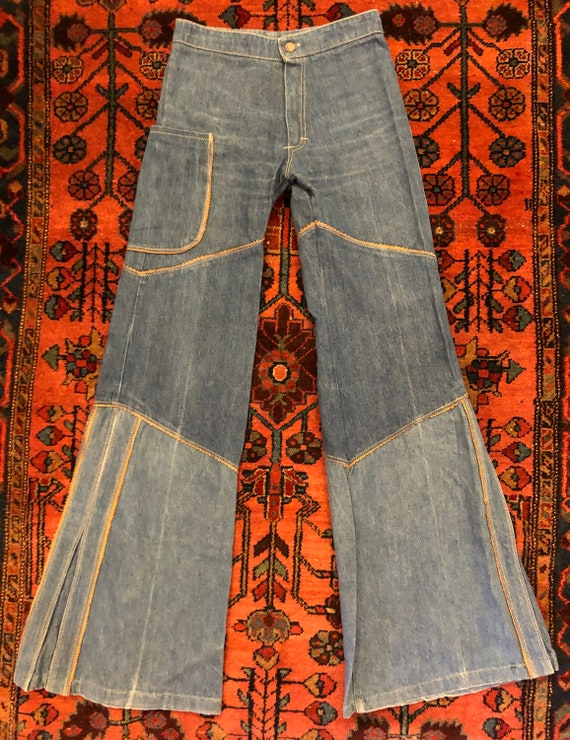 Vintage Women's 1970s Faux Leather Piping Denim Be