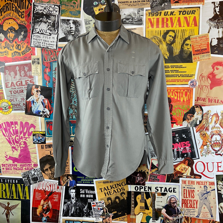1940s Men's Shirts, Sweaters, Vests Vintage Mens 1940S-50S The Conquerer Tropical Union Made Police Uniform Gabardine Poplin 3840 Chest Button Up Shirt $75.00 AT vintagedancer.com