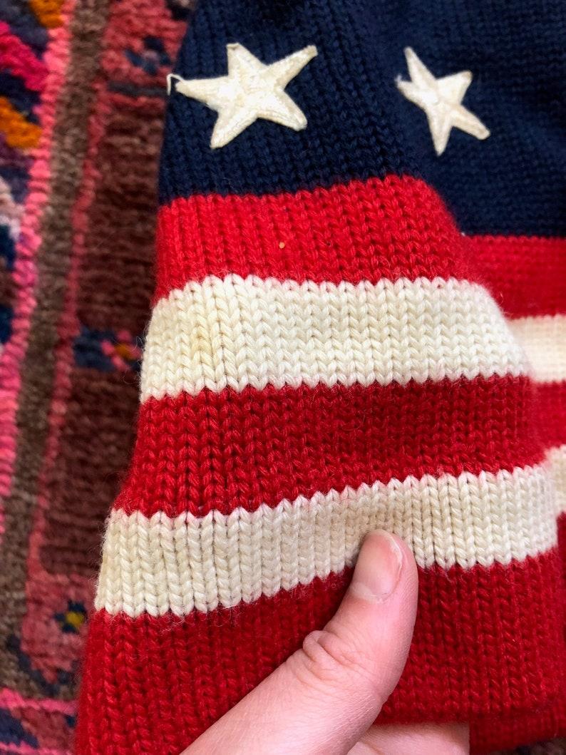 Vintage Smiley Hats Brand Knit 100/% Wool \u201cAmerican Flag\u201d Beanie