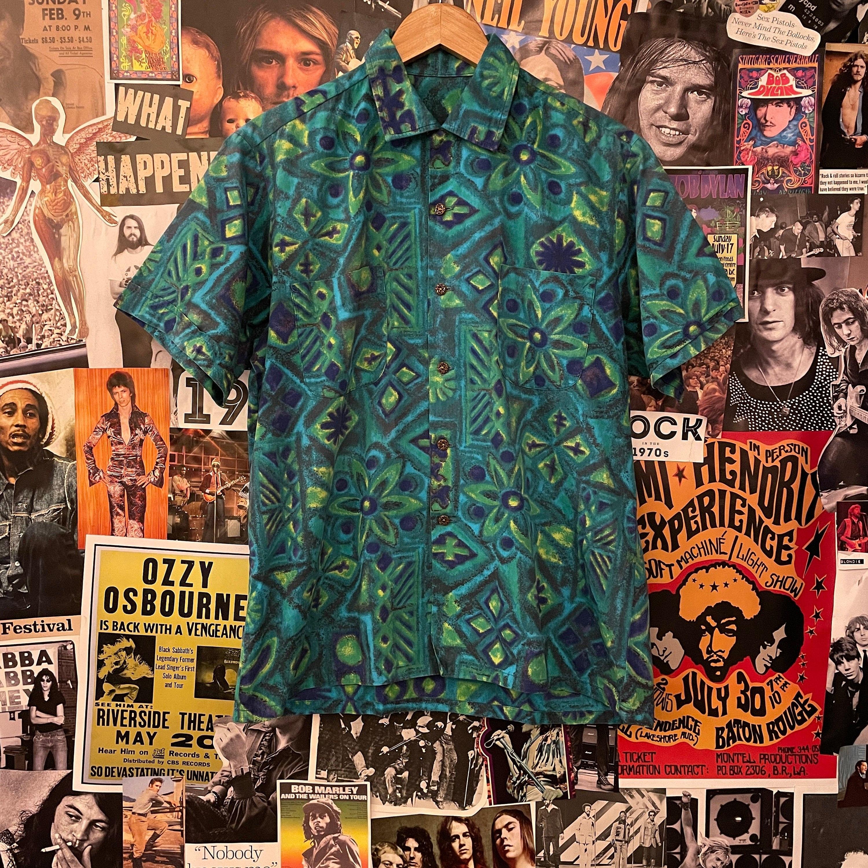 1960s – 70s Men's Ties | Skinny Ties, Slim Ties Vintage Mens 1960S Blue  Green Psychedelic Hawaiian Tiki Loop Collar Short Sleeve Button Down Shirt $45.00 AT vintagedancer.com