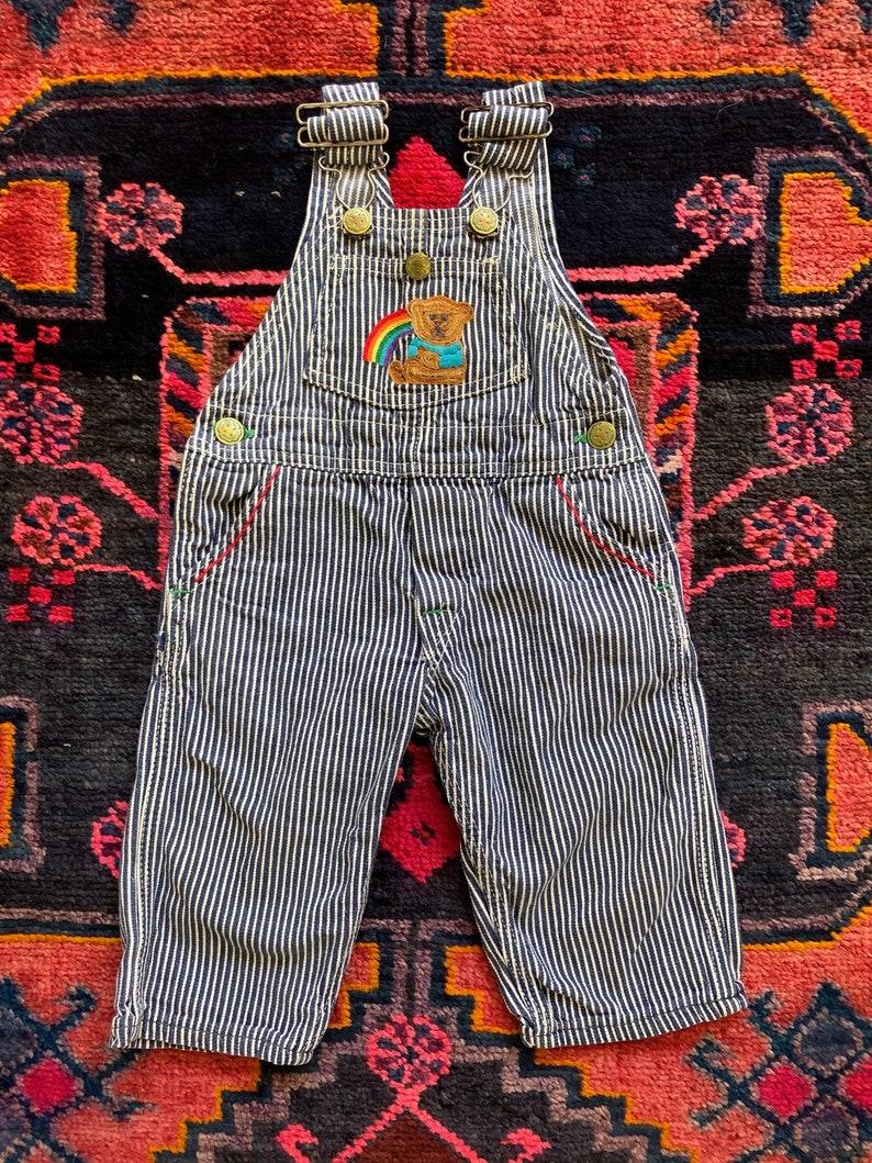 Adorable Vintage 198090s OshKosh B\u2019Gosh Embroidered Blue and White Hickory Striped Painter Overalls