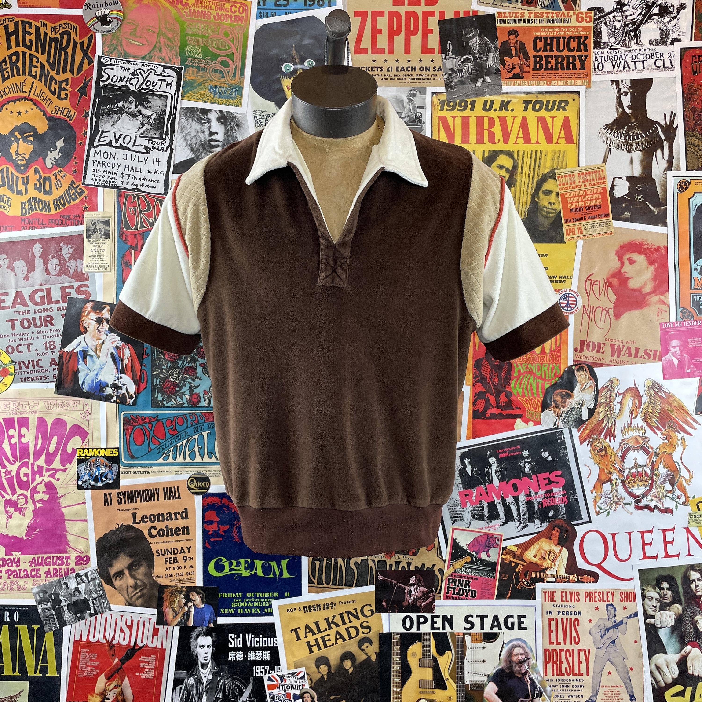 1970s Mens Shirt Styles – Vintage 70s Shirts for Guys Vintage Mens 1970S-80S Brown Color Block Velour Kennington Short Sleeve V-Neck Pullover Polo Shirt $0.00 AT vintagedancer.com