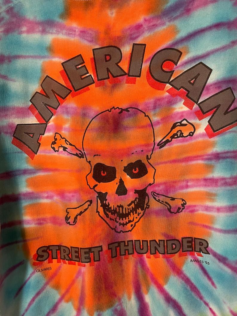 Vintage 1990s Tie Dye American Street Thunder Houston Texas Skull Biker All Cotton Graphic Pocket T-Shirt