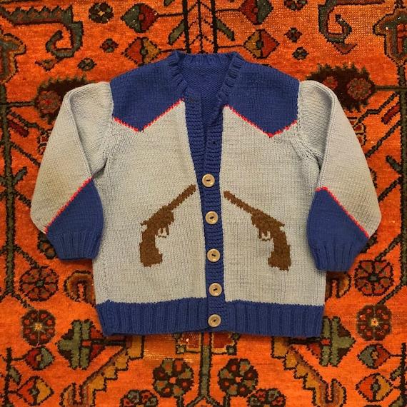 "Vintage Kids 1950s Knit Western Cowboy ""Bucking Br"