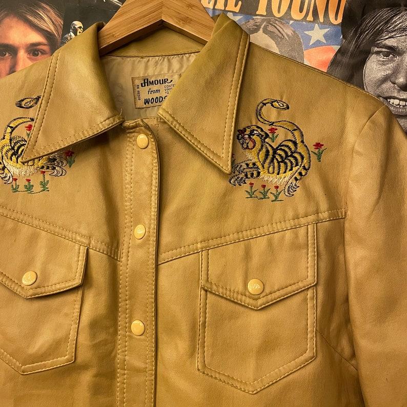 Zebra Jacket Vintage 1970s Vinyl Embroidered Amour Woodstock Embroidered Tiger