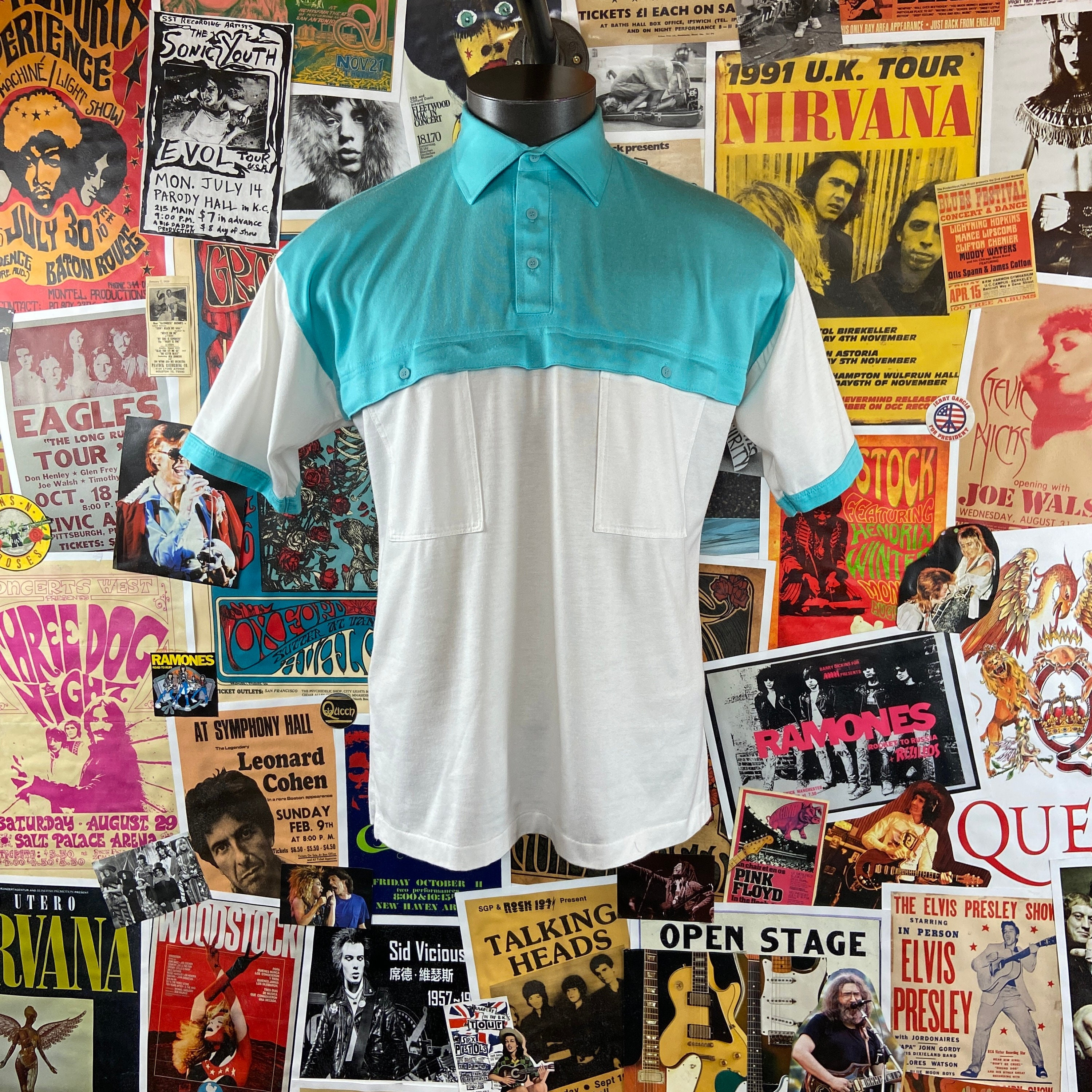 1970s Men's Shirt Styles – Vintage 70s Shirts for Guys Vintage Mens 1970S-80S Teal  White Two Tone Color Block Countess Mara Short Sleeve Polo Shirt $38.00 AT vintagedancer.com