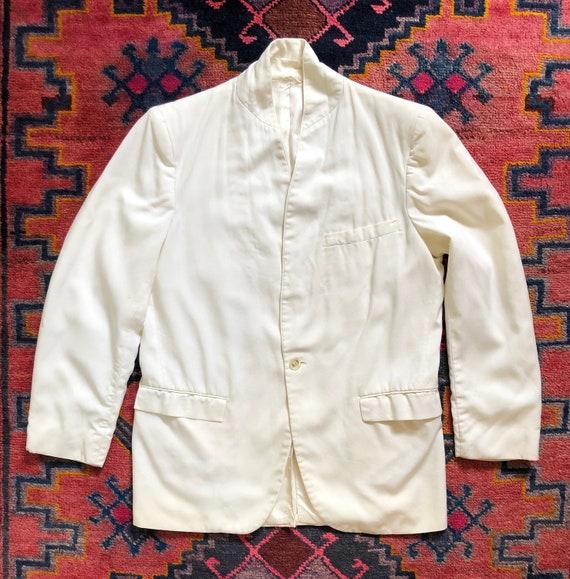 Vintage 1960s Nehru Collar White Dinner Jacket