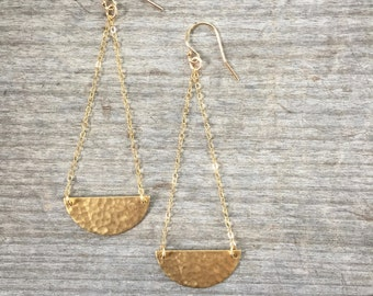 Half Moon Brass Drop Earrings - Half Moon Brass Earrings -Brass Earrings - Drop Earrings -Dangle Earrings -Gift for her -Gift under 35