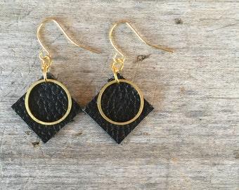 Black Circle Leather Earrings - Leather Earrings - Boho Earrings - Leather Drop Earrings - Leather Dangle Earrings - Gift for Her
