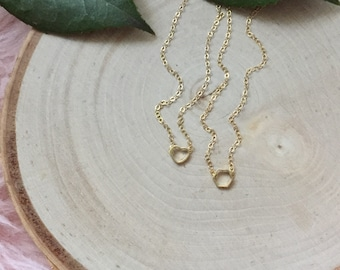 Tiny Heart Necklace - Tiny Hexagon Necklace -Gold Heart Necklace- Fun Necklace - Gold Hexagon Necklace - Simple Necklace -Layering Necklace