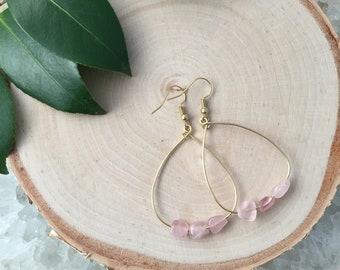 Rose Quartz Hoop Earrings - Rose Quartz Earrings - Hoop Earrings -Gemstone Hoop Earrings - Gift for her-Lightweight Earrings -Girl Gift