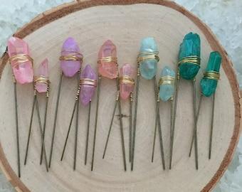 Quartz Hair Pins - Wedding Hair Accessories - Bridal Accessories - Crystal Hair Pin -Unique Hair Piece -Bridal Hair -Gift under 10