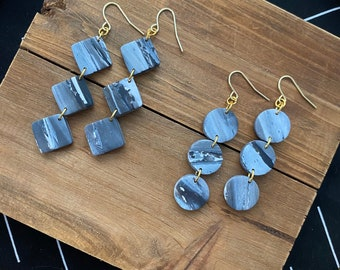 The Nightvale Collection - Clay Earrings -Modern Earrings - Drop Earrings -Dangle Earrings -Gift for her - Marbled Earrings - Girl Gift