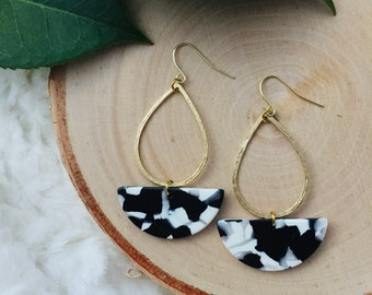 First Date Earrings - Black and White Drop Earrings - Hoop Earrings - Modern Earrings - Drop Earrings -Dangle Earrings -Gift for her