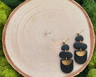 The G A T S B Y Collection - Clay Earrings -Modern Earrings - Drop Earrings -Dangle Earrings -Gift for her - Black Jewelry - Girl Gift