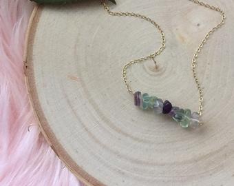 Flurorite Bar Necklace - Polished Flourite - Bar Necklace - Layering Necklace - Fluorite Necklace - Minimalist Necklace - Bridesmaid Gift